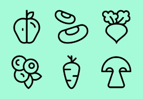 Minimal vegetable, fruit & berry icons