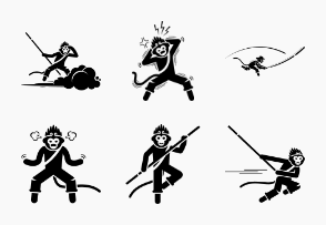 Monkey King Sun Wukong Poses Postures Actions Emotions