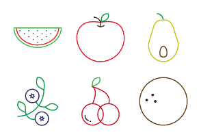 Outlined fruits