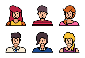 People Avatar Color Outline