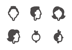 People heads in different ages and gender
