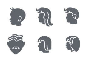 People heads in glyph style