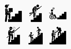 People on Staircase or Stairs.