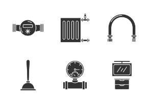Plumbing. Glyph. Silhouettes