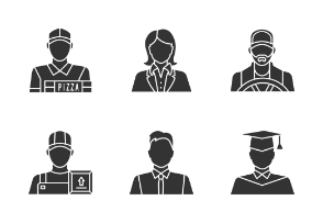 Professions. Glyph. Silhouettes