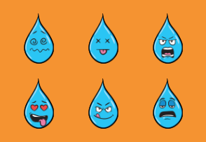 Rain Drop Emoji Cartoons