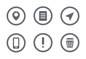 Basic UI Element Rounded White icons Set