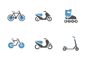 Blue Gray color. Scooters and Bikes