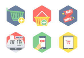 Hexagon Shopping & Commerce flat icons PART-1