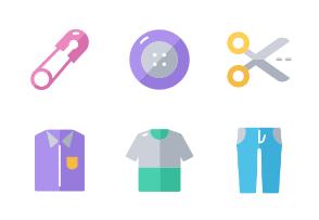 Shopping set icons flat