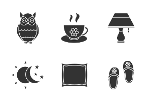 Sleeping accessories. Glyph. Silhouettes