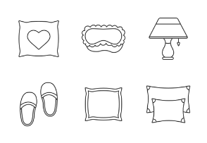 Sleeping accessories. Linear. Outline