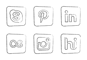 Social Media Round Corner Icons Hand Drawn