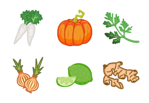 Solid Vegetables Colored