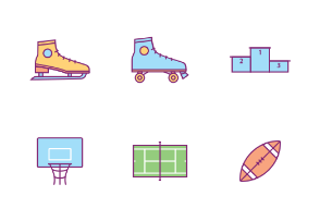 Sports Equipment in Filled Outline Style
