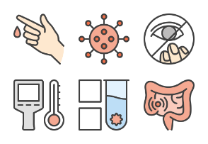 Stop virus outline colored iconset (part 2)