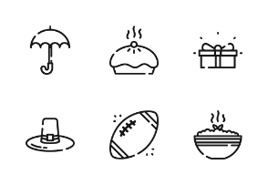 Thanksgiving With Outline Iconset