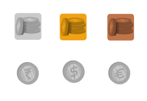 Three currency coins