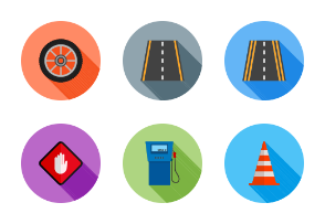 Transportation Flat (Multicolor Background & Shadow)