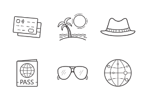 Travel equipment. Vacation. Holiday. Linear. Outline