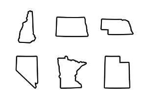 USA States Map J-Outline