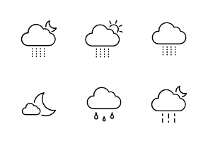 Weather Thin Line Vector Set
