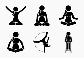 Woman Jumping Actions and Sitting Postures