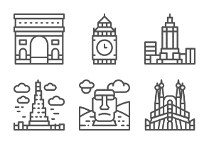 World Landmarks - Line set