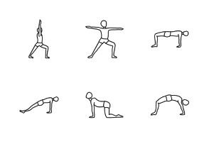 Yoga Poses Linear Black