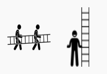 Man carrying and climbing a ladder.